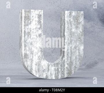 Concrete Capital Letter - U isolated on white background. 3D render Illustration - Stock Image