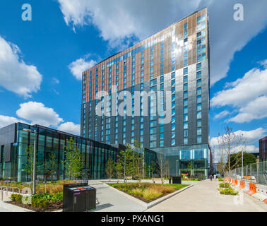 The Lume building, a Crowne Plaza and Staybridge Suites hotel, Oxford Road, Manchester, England, UK - Stock Image