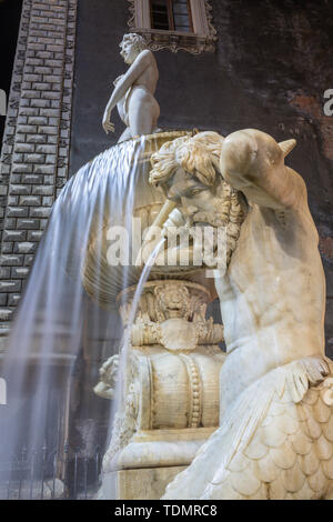Catania - The nightly detail of by Tito Amenano fountain by Tito Angelini (1837). - Stock Image