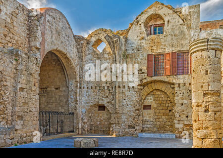 Remains Of The Virgin Of The Burgh Church, Rhodes, Greece - Stock Image