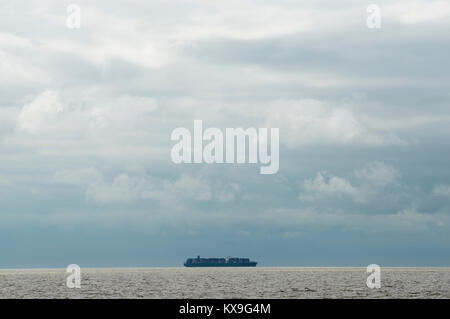 Container ship approaching the Port of Felixstowe, Suffolk, UK. - Stock Image