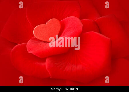 Small red heart on rose flower petals. Romantic background texture for a Valentine's or Wedding day greetings card with copy space. - Stock Image
