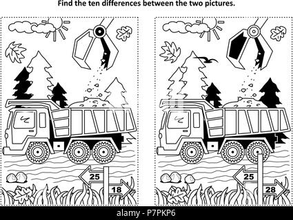Find the ten differences picture puzzle and coloring page with working tip truck and hopper - Stock Image