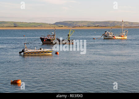 Late summer evening scene on the Dovey (Dyfi) estuary at Aberdovey (Aberdyfi) in Wales. - Stock Image