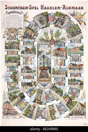 A kind of goose board game in which every stop of the tram line connection between Haarlem and Alkmaar is depicted ca. 1900 - Stock Image