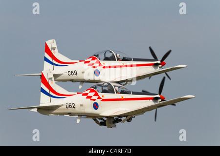 Pilatus PC-9 of 'Wings of storm' aerobatic group of Croatian air force - Stock Image