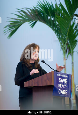 Westbury, USA. January 15, 2017. Representative Kathleen Rice (Democrat - 4th Congressional District) is speaking - Stock Image