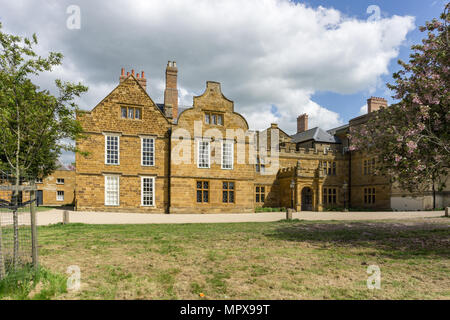 The frontage of Delapre Abbey, a 17th century historic house built on the site of an earlier nunnery dating from 12th century; Northampton, UK - Stock Image