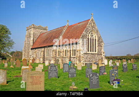 A view of the parish Church of St Botolph at Limpenhoe, Norfolk, England, United Kingdom, Europe. - Stock Image