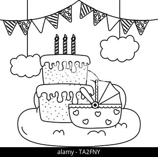 cradle with birthday cake with candles lit over cloud and pendants vector illustration graphic design - Stock Image