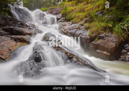 The first cascade of the Datanla waterfalls accessible by foot, Dalat, Vietnam - Stock Image