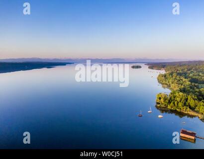 View of Lake Starnberg, Bavaria, Germany - Stock Image