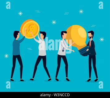 professional businessmen teamwork with coin and bulb idea - Stock Image