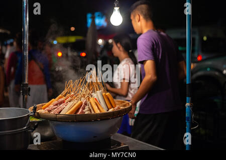 CHIANG MAI, THAILAND - AUGUST 27: Sausages for sale at the Saturday Night Market (Walking Street) on August 27, 2016 in Chiang Mai, Thailand. - Stock Image