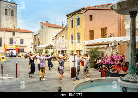 dancing the sardana in Maureillas pyrenees orientales, France - Stock Image