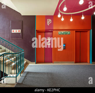 Second floor with stairwell and lift. Pioneer Place, Durban, South Africa. Architect: designworkshop : sa, 2016. - Stock Image