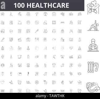 Healthcare line icons, signs, vector set, outline illustration concept  - Stock Image