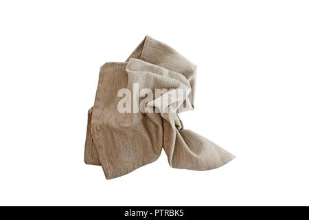 Messy crumpled linen napkin isolated over a white background with clipping path included. Image shot from overhead. - Stock Image