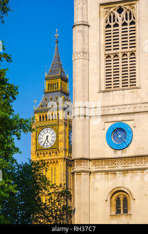 UK, England, London, Westminster, Houses of Parliament, Big Ben and Westminster Abbey, St Margaret's Church tower - Stock Image