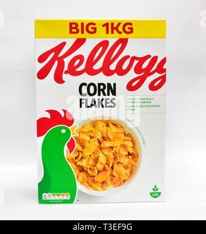 Kelloggs Corn Flakes, Big 1 kilo box - Stock Image