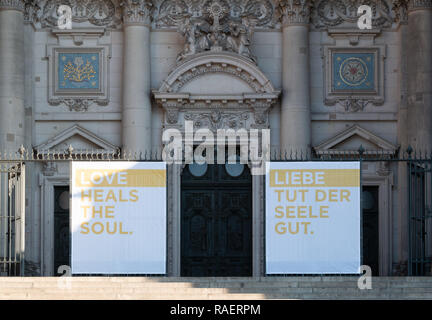 Love Heals the Soul sign outside Berlin Cathedral, Berliner Dom - Stock Image