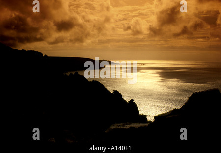 Sunset over Bosigan, Cornwall, UK - Stock Image