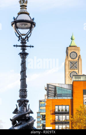 Oxo Tower Wharf in London with lamplight in foreground, England - Stock Image