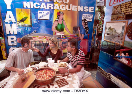 Miami Florida Little Havana Calle Ocho Nicaraguan restaurant patrons mural - Stock Image