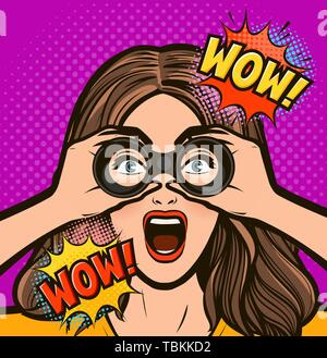 Sexy surprised woman looking through binoculars. Vector illustration in pop art retro comic style - Stock Image