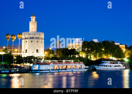 Torre del Oro, Twilight, Seville, Spain - Stock Image