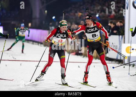 Lisa Theresa Hauser (AUT), Dominik Landertinger (AUT). JOKA Biathlon World Team Challenge 2018 auf Schalke. - Stock Image