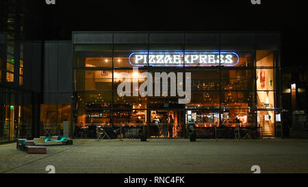 Brighton Views at night - Pizza Express restaurant in Jubilee Square  Photograph taken by Simon Dack - Stock Image