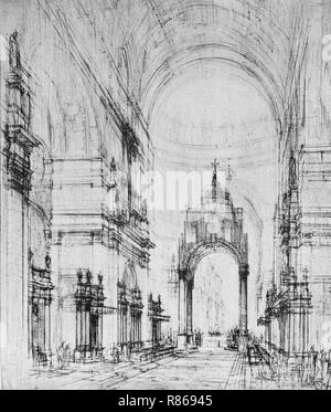 An impression of the design of The Metropolitan (Roman Catholic) Cathedral by Sir Edwin Lutyens (1869–1944).  Lutyens' design was intended to create a massive structure that would have become the second-largest church in the world. It would have the world's largest dome, with a diameter of 168 feet (51 m). Building work began in 1933, but the restrictions of World War II wartime and rising costs forced construction to stop. In 1956, work recommenced on the crypt, which was finished in 1958. Thereafter, Lutyens' design was considered too costly and was abandoned with only the crypt complete. - Stock Image