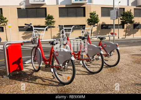 Gibraltar Redibike Bicycles, Bicycle Sharing Scheme, bicycles in parking station, Gibraltar. - Stock Image