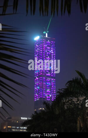 Vertical view of the 42 and Tata Centre lit up at night in Kolkata aka Calcutta, India. - Stock Image