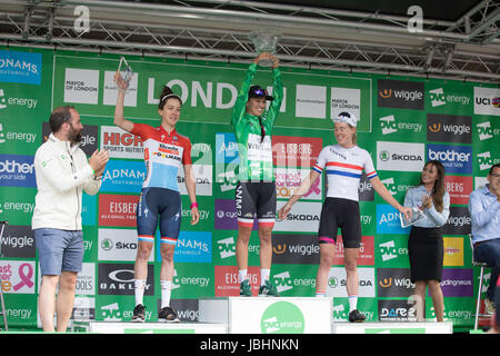 London, UK.  11th June 2017. Final stage of the 2017 Women's Tour of Britain. Overall top 3 - Niewiadoma (WM3 Pro - Stock Image