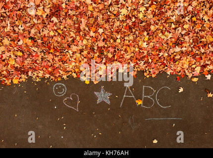 Pole aerial of autumn leaves on pavement with chalk drawings. - Stock Image