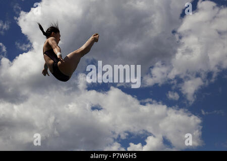 Bolzano, Italy. 07th, Jul 2018. Xiahoui Huang from China competes in the Women's 3m Springboard Diving Semi-Final on day two at Bolzano Lido, during 24th FINA Diving Grand Prix in Bolzano, Italy, 07 July 2018. (PHOTO) Alejandro Sala/Alamy Live News  - Stock Image