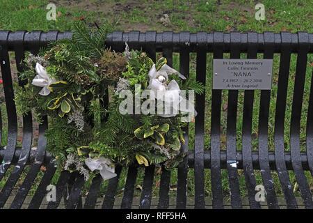 Bench, In Loving Memory Colin Timmins, NANA, Sackville Gardens Manchester, England, UK - Stock Image