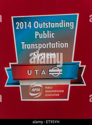 2014 Outstanding Public Transportation System - Utah Transit Authority (UTA) recognition sign - Stock Image
