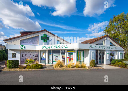 Frontage of French pharmacy / pharmacy. - Stock Image