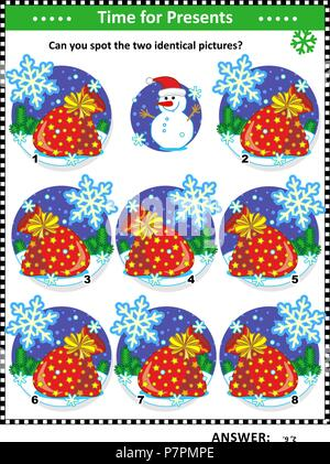 Winter, Christmas or New Year themed visual puzzle with Santa's sacks full of toys and presents: Can you spot the two identical pictures? - Stock Image