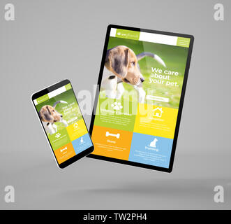 flying smartphone and tablet mockup 3d rendering showing pet website - Stock Image