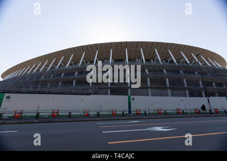 Tokyo, Japan. 16th Apr, 2019. Construction works continue at the New National Stadium. The New National Stadium will be the venue for 2020 Tokyo Olympic and Paralympic Games. Credit: Rodrigo Reyes Marin/AFLO/Alamy Live News - Stock Image