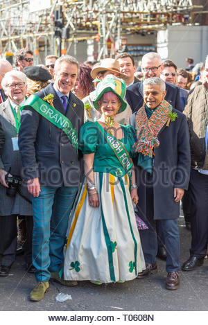 London, UK. 17th March 2019. The traditional St Patrick's Day Parade through London had actor James Nesbitt as Grand Marshall joining Mayor of London Sadiq Khan at the head of a huge procession of marching bands, dancers, floats and other attractions, with a strong South American attendance. Chef Richard Corrigan and Commissioner of the London Fire Brigade Danielle Cotton also attended. Credit: Avpics / Alamy Live News - Stock Image