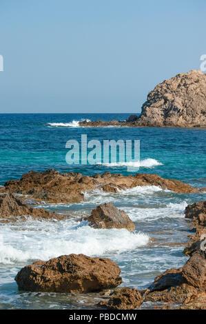 copyspacenorth eastern coast of Ibiza Island, Balearic Islands, Mediterranean Sea, Spain, Europe - Stock Image
