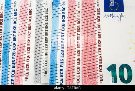 Ten Euros denomination paper currency bank note, Studio Composition, Quebec, Canada - Stock Image