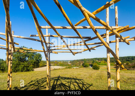 New traditional rustic shelter (for picnics) in field - France. - Stock Image