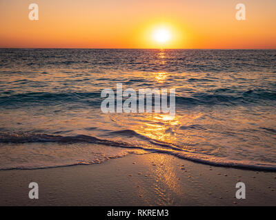 Sunrise in Thassos at the beach - Stock Image