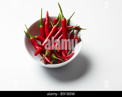 Bowl of fresh red chillies - Stock Image